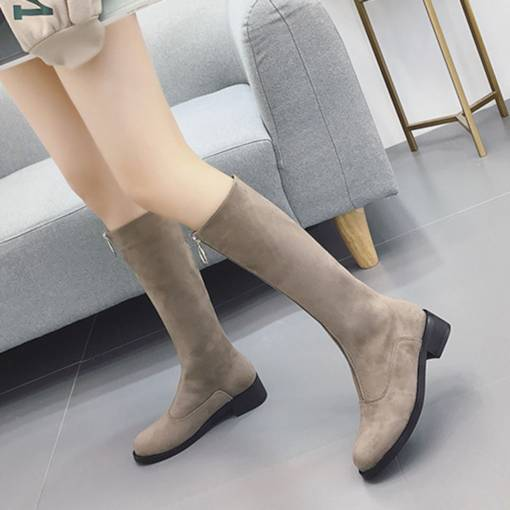 Round Toe Block Heel Front Zipper Fashion Knee High Boots for Women