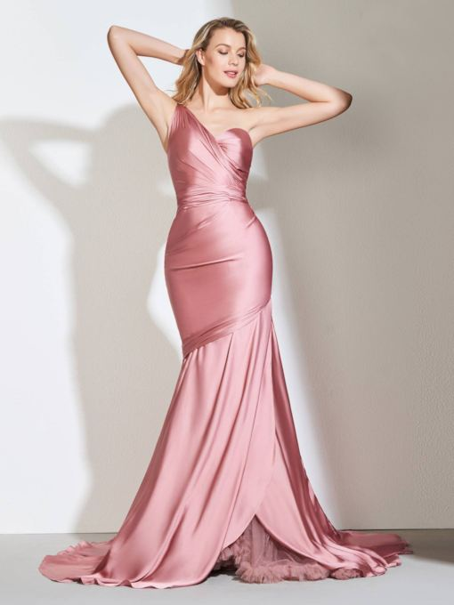 One Shoulder Pleats Mermaid Evening Dress 2019