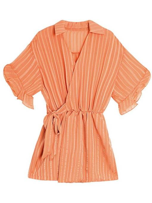 Wrapped Striped Ruffled Lace-Up Women's Romper