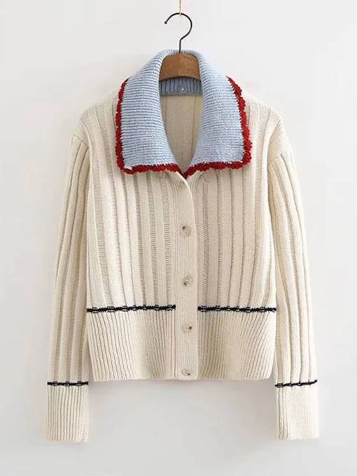 Vintage Button Down Lapel Women's Knitwear
