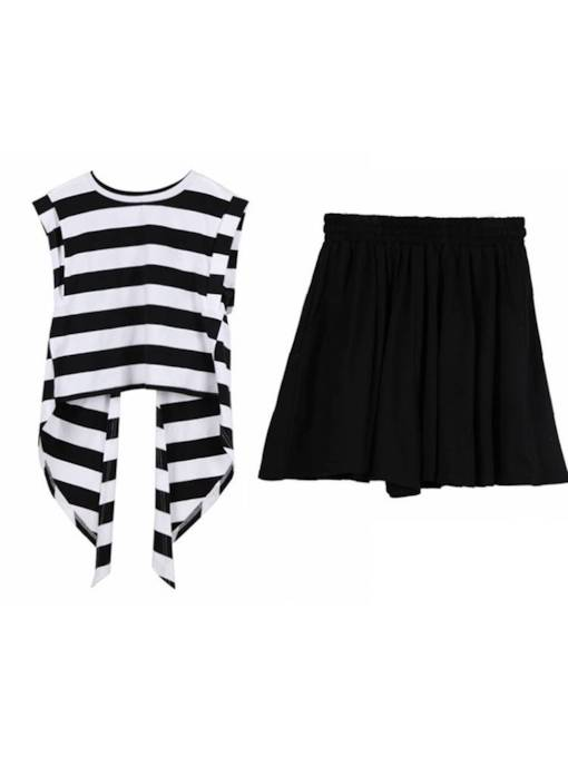 Striped Hollow Tee with Shorts Women's Two Piece Set