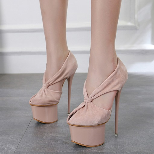 Suede Peep Toe Stiletto Heel Platform Banquet Women's Pumps