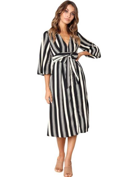 Striped Open Back Lace up Women's Day Dress
