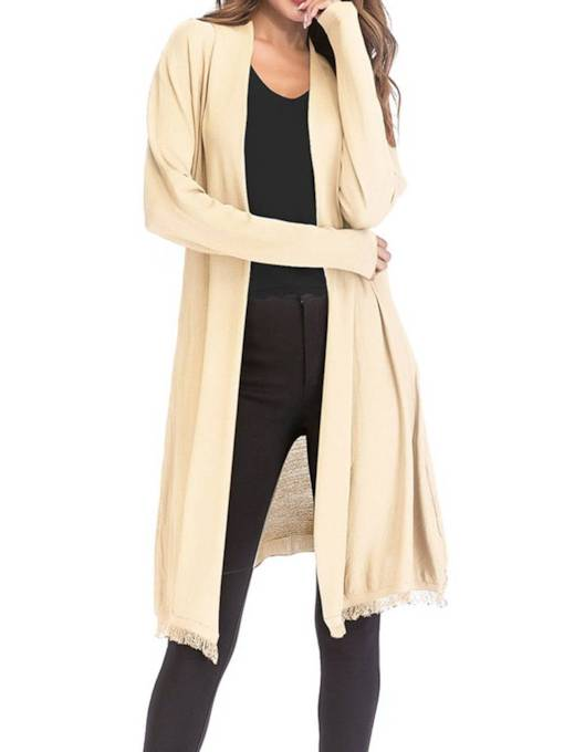 Long Open Front Pure Color Lightweight Women's Cardigan