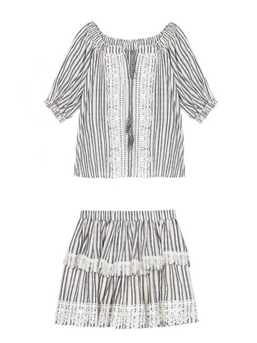 Square Neck Striped Tee and Skirt Women's Two Piece Set