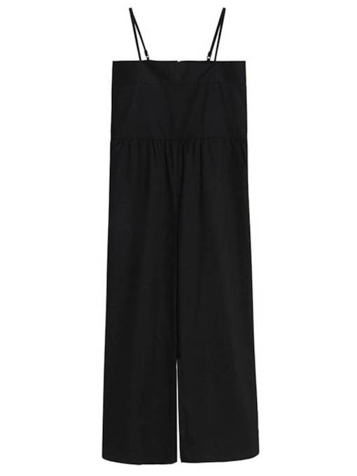 Plain High Waist Full Length Strap Women's Jumpsuit