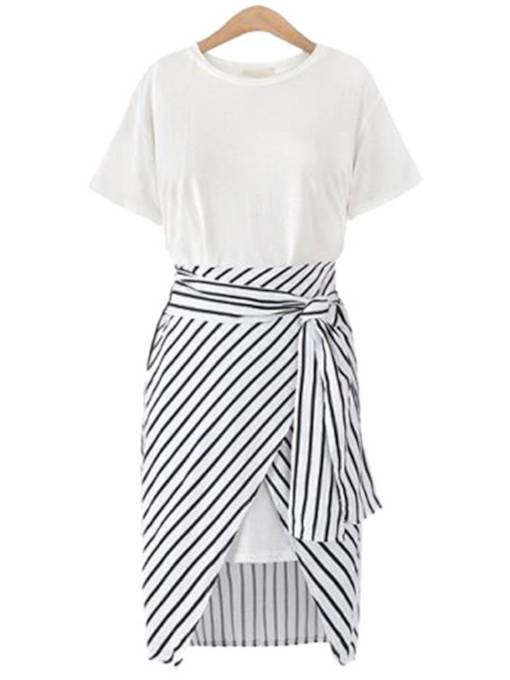 Short Sleeve Casual Belt Stripe Day Dress