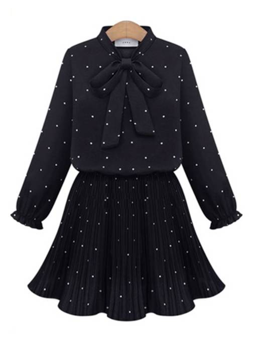 Bow Collar Prints Travel Look Day Dress