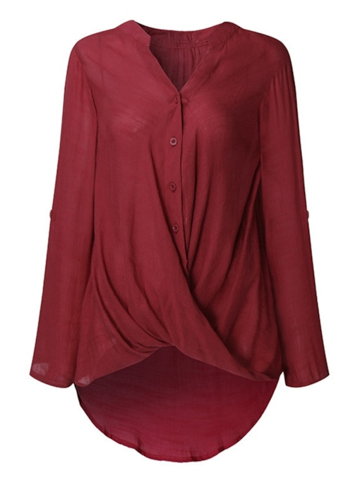 Twist Front Plus Size Women's Simple Shirt