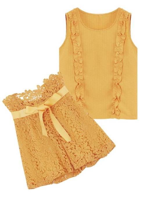 Plain Lace Ruffled Vest and Shorts Women's Two Piece Set