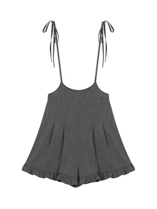 Short Pleated Lace-Up Women's Romper