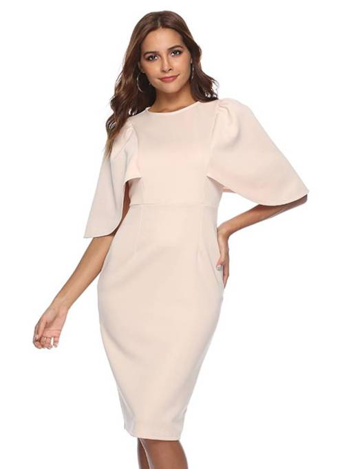 Batwing Sleeve Elegant Women's Sheath Dress