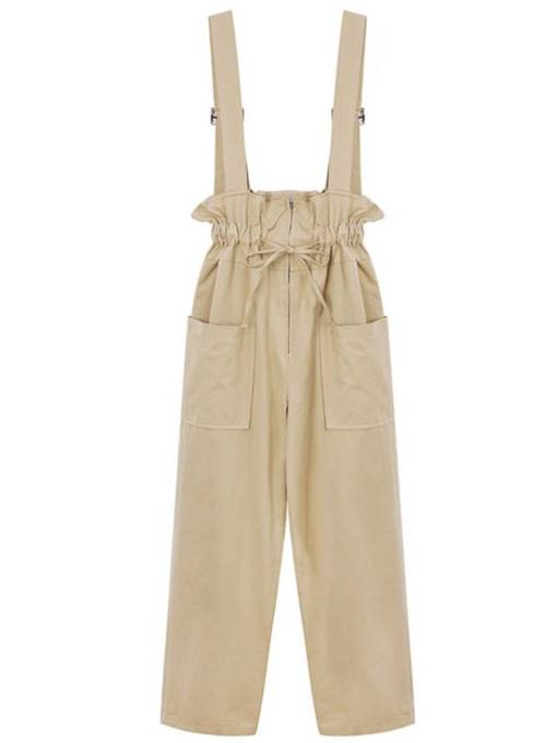 Ruffled Elastic Bowknot Pocket Women's Overalls