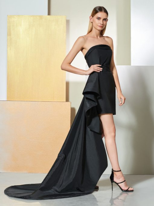 Strapless Ruffles Sheath High Low Cocktail Dress