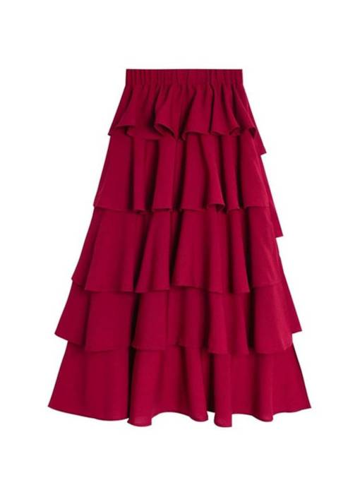 Plain High Waist Ruffled Layered Women's Pleated Skirt