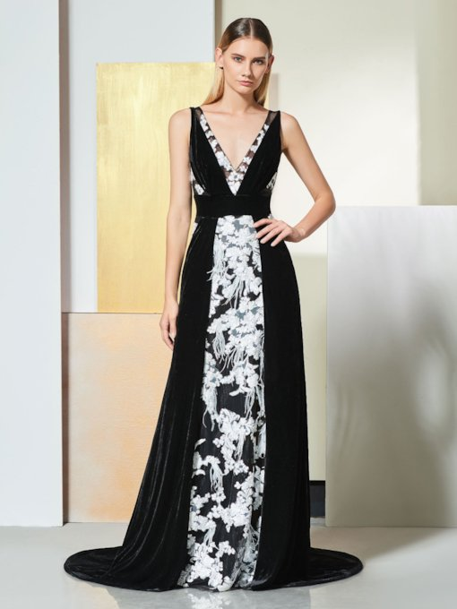 A-Line V-Neck Lace Backless Evening Dress