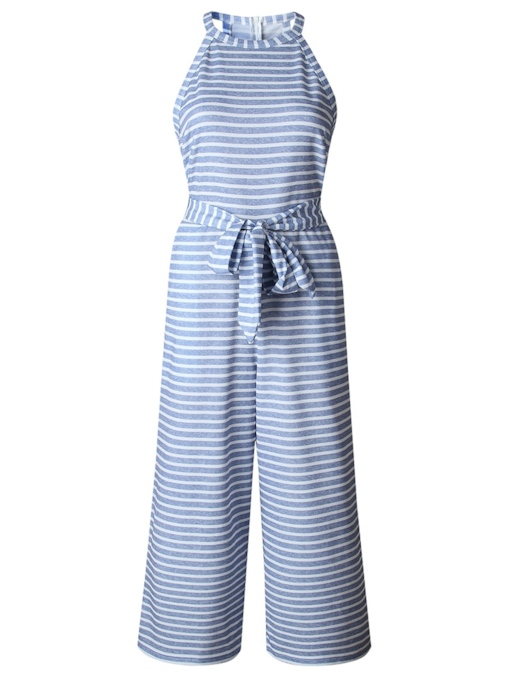 Striped Halterneck Tie Waist Women's Jumpsuit