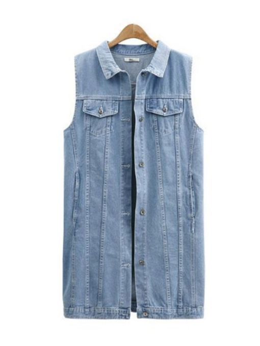 Sleeveless Button Down Women's Denim Jacket Vest