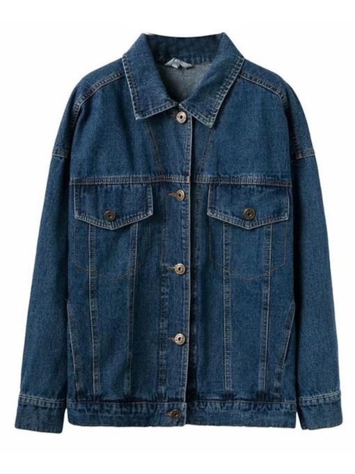 Retro Button Down Dual Pocket Women's Denim Jacket