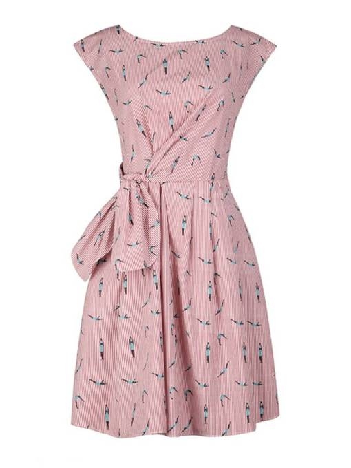 Cap Sleeve Striped Lace up Women's Day Dress