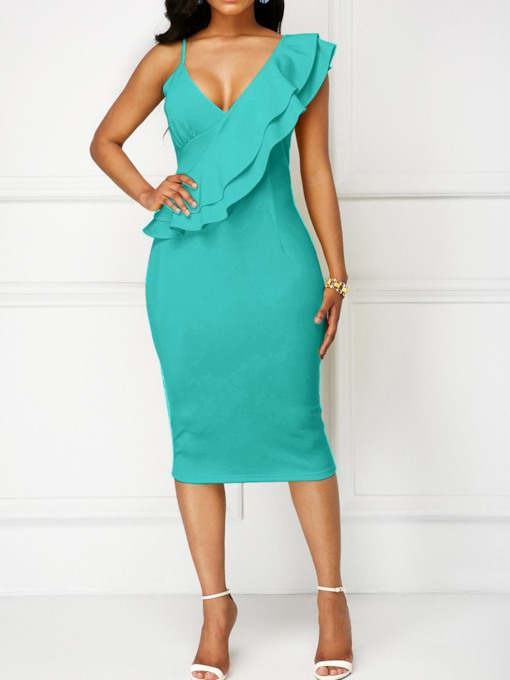 Falbala Sleeveless Bodycon Elegant Dress