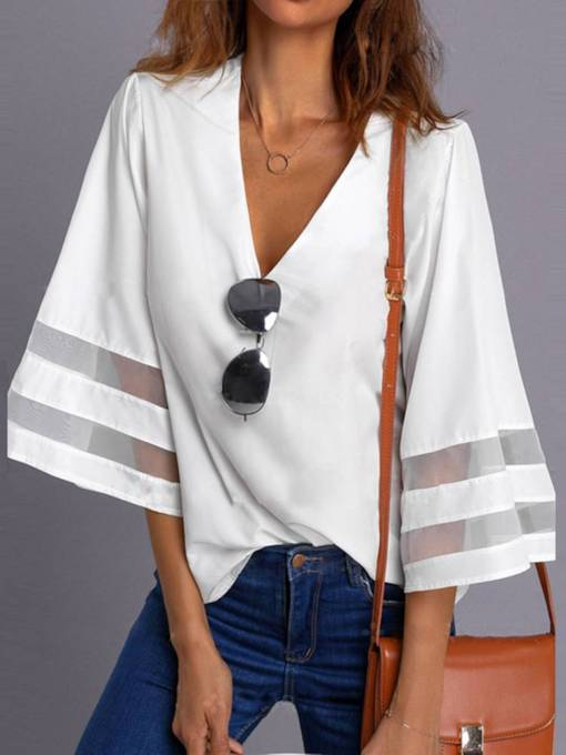Bell Sleeve Plunge Neck Women's T-Shirt