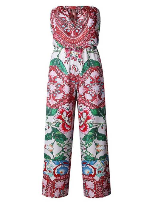 Printed Open Back Tube Wide Lges Women's Jumpsuit