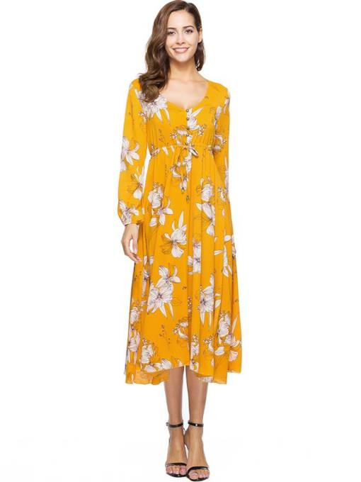 Yellow Printing Single-Breasted Women's Long Sleeve Dress
