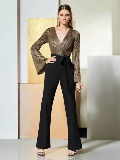Long Sleeve Sequins Mother Jumpsuits