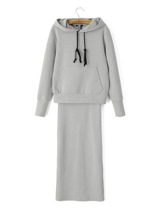 Plain Drawstring Hoodie and Bodycon Skirt Women's Two Piece Set