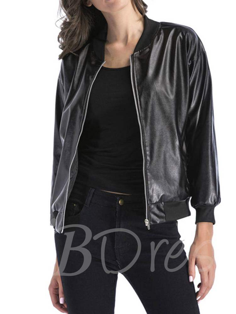 Faux Leather Dual Pocket Women's Jacket, Spring,Fall, 13352840