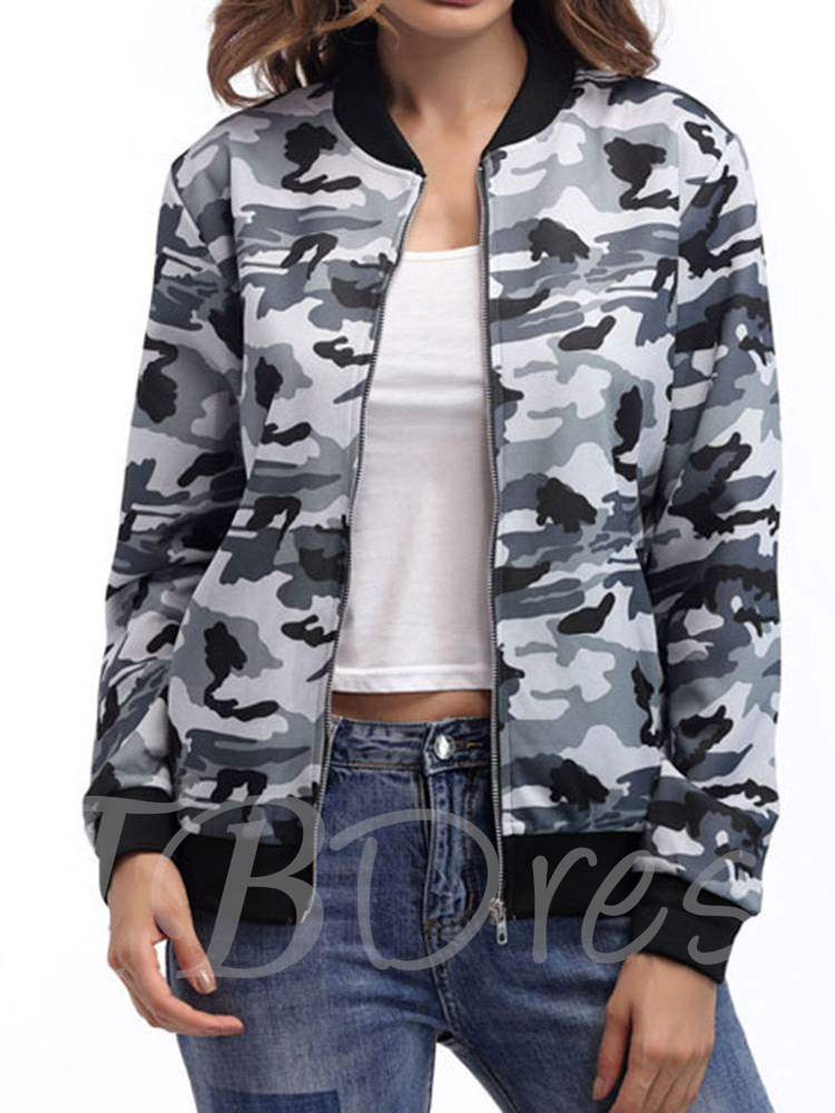 Stand Collar Slim Fit Zipper Women's Camo Jacket, Spring,Fall, 13352837