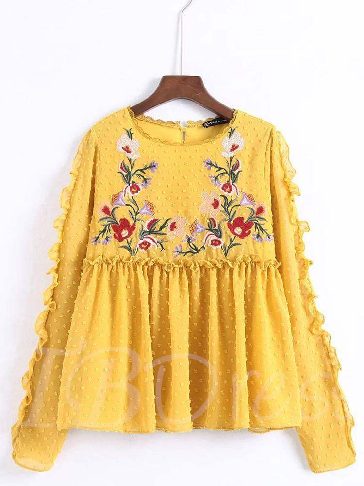 Buy High Waist Frilled Floral Embroidery Women's Blouse, Spring,Fall, 13352823 for $22.79 in TBDress store