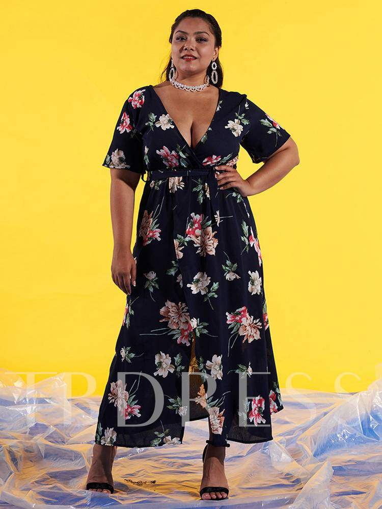 Buy Plus Size High Waist Floral Prints Split Maxi Dress, Plusee, 13353236 for $19.85 in TBDress store