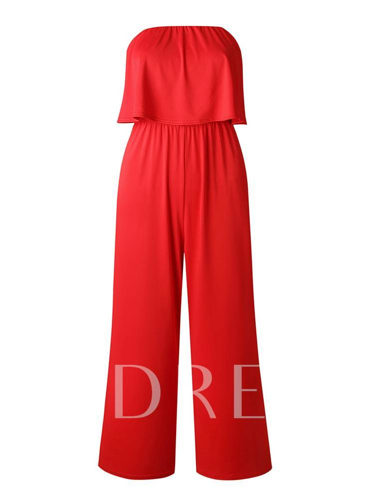 Plain Strapless Wide Legs Women's Jumpsuit