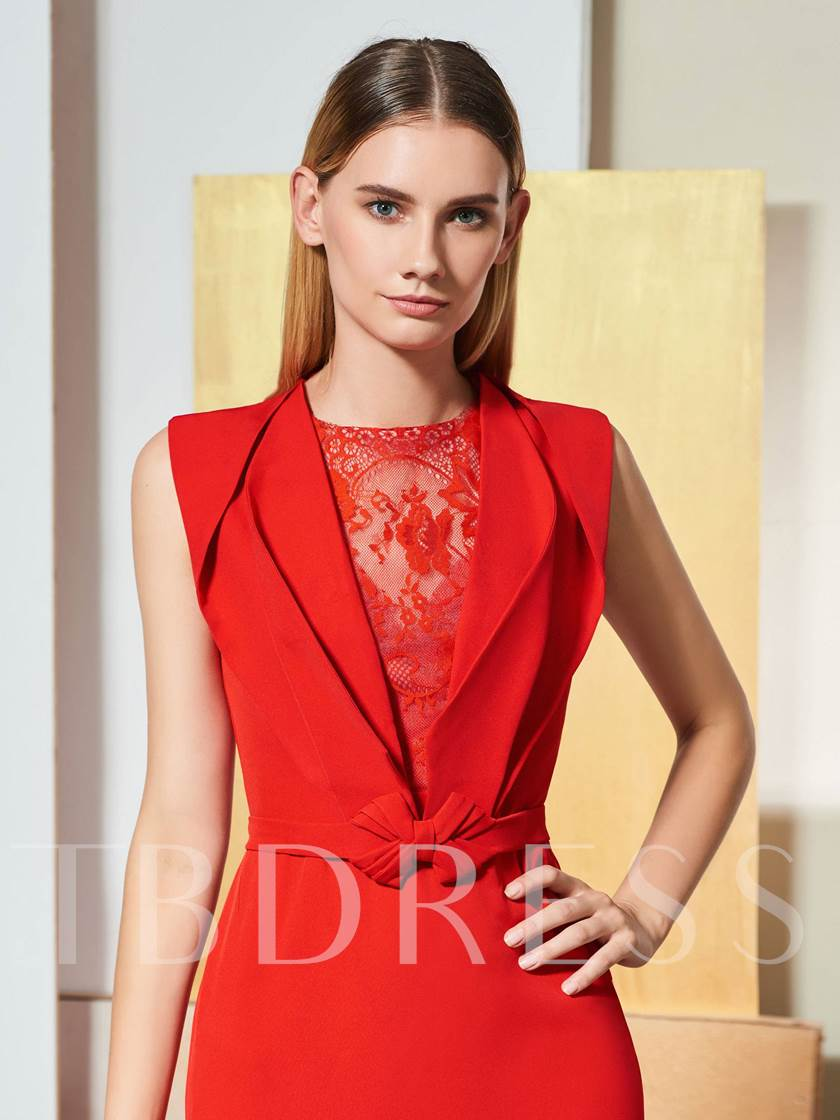 Mermaid Bowknot Lace Red Evening Dress