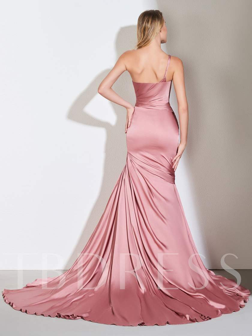 One Shoulder Pleats Mermaid Evening Dress