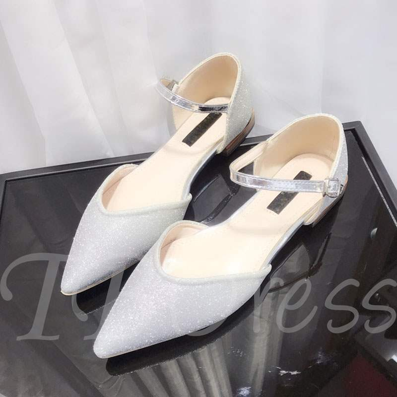 Buy Block Heel Pointed Toe Hasp Glitter Flats Women's Pumps, Spring,Summer,Fall, 13350822 for $36.57 in TBDress store