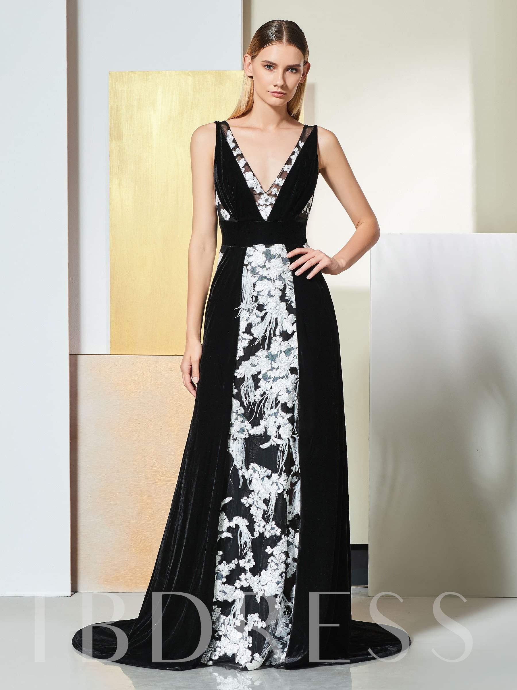 Buy A-Line V-Neck Lace Backless Evening Dress, Spring,Summer,Fall,Winter, 13351086 for $135.05 in TBDress store