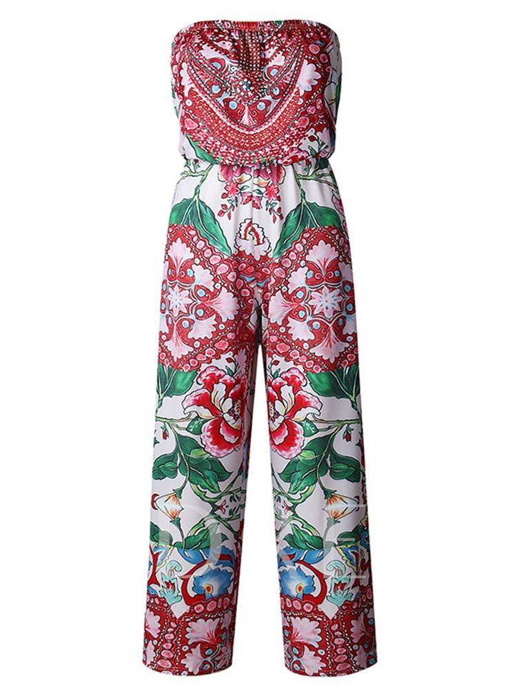 Buy Printed Open Back Tube Wide Lges Women's Jumpsuit, Summer, 13351388 for $16.91 in TBDress store