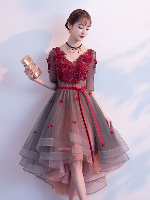 A-Line V-Neck Beading Flowers Homecoming Dress