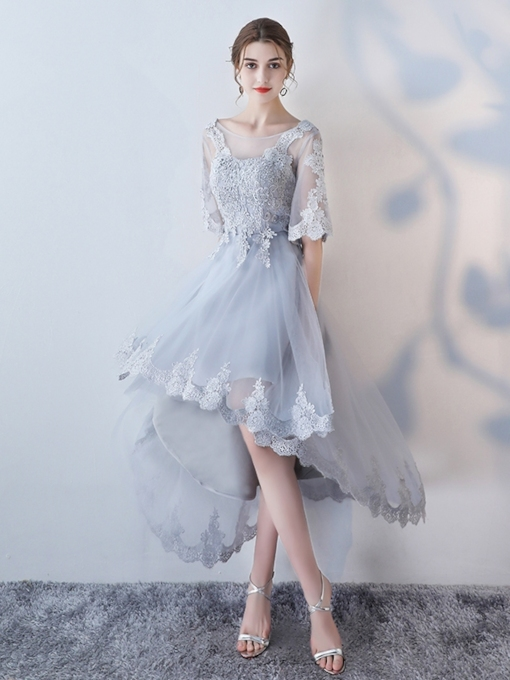 A-Line Appliques Lace Scoop High Low Homecoming Dress