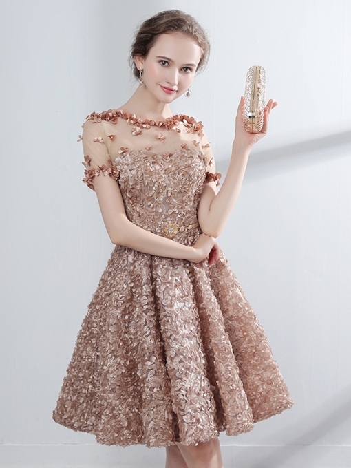 A-Line Appliques Flowers Lace Homecoming Dress