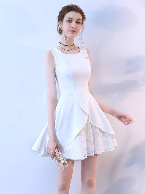 A-Line Square Lace Homecoming Dress