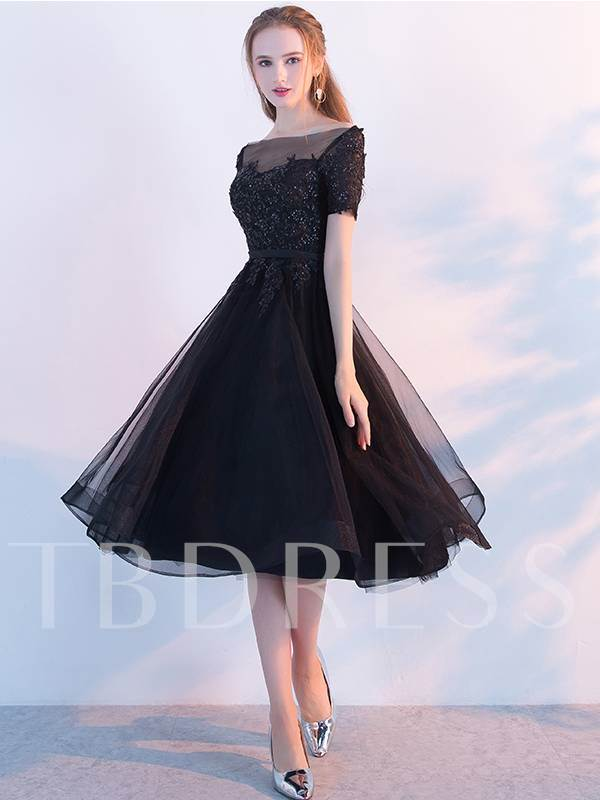 A-Line Appliques Beaded Bateau Homecoming Dress