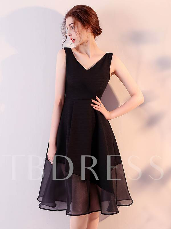 A-Line V-Neck Sleeveless Homecoming Dress
