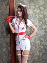 Short Sleeve Tight Wrap Zipper Nurse Costume