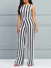 Lace-Up Stripe Sexy Full Length Mid-Waist Women's Jumpsuit