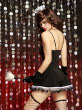 Bowknot Tight Wrap Lace-Up Maid Costume