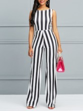 Lace-Up Stripe Sexy Full Length Mid-Waist Women's Jumpsuits